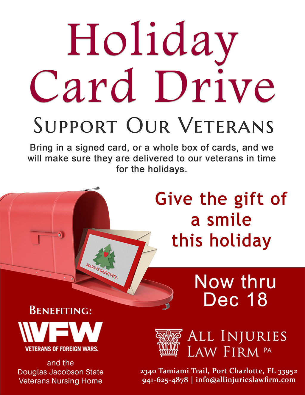 All Injuries Holiday Card Drive To Support Our Veterans